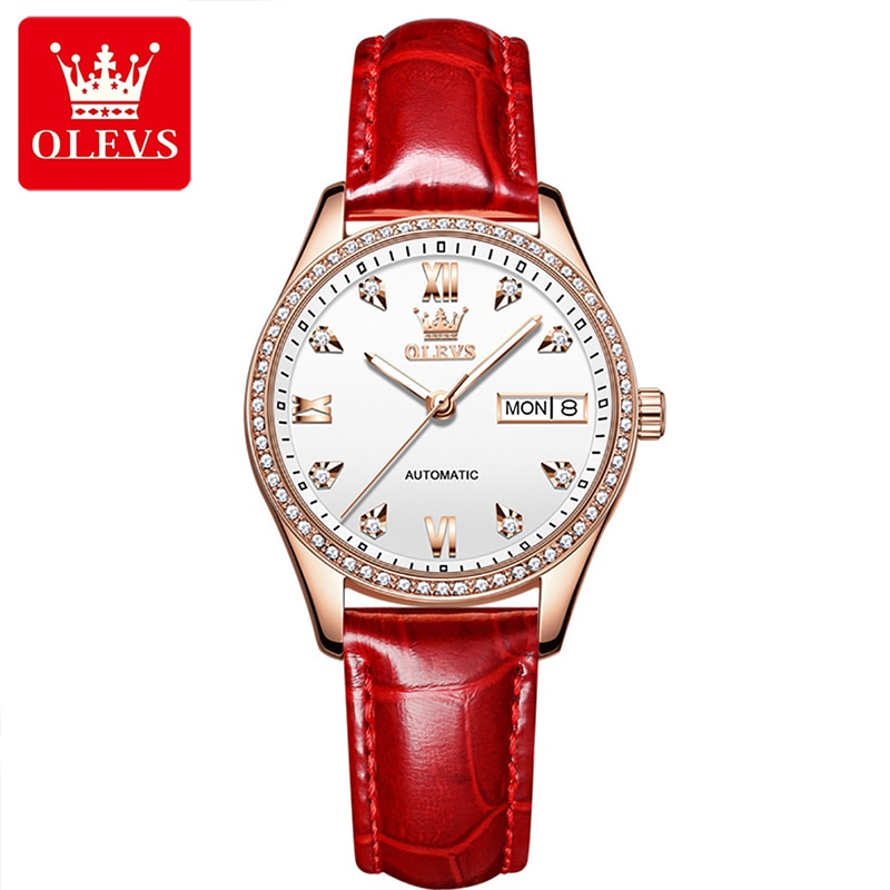 OLEVS New Fashion Women Casual Fully Automatic Mechanical Diamond Day Date Display Luminous Watch Hands Waterproof Watches 6637 enlarge