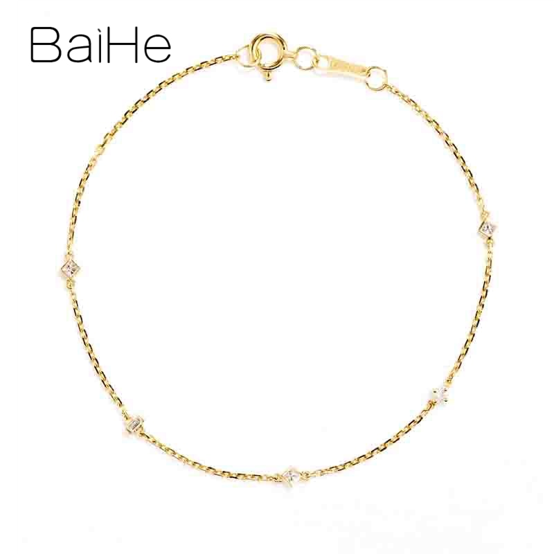 BAIHE Solid 18K Yellow Gold Total 0.15ct Round Square princess Natural Diamonds Wedding Gift Women Fine Jewelry Fashion Bracelet
