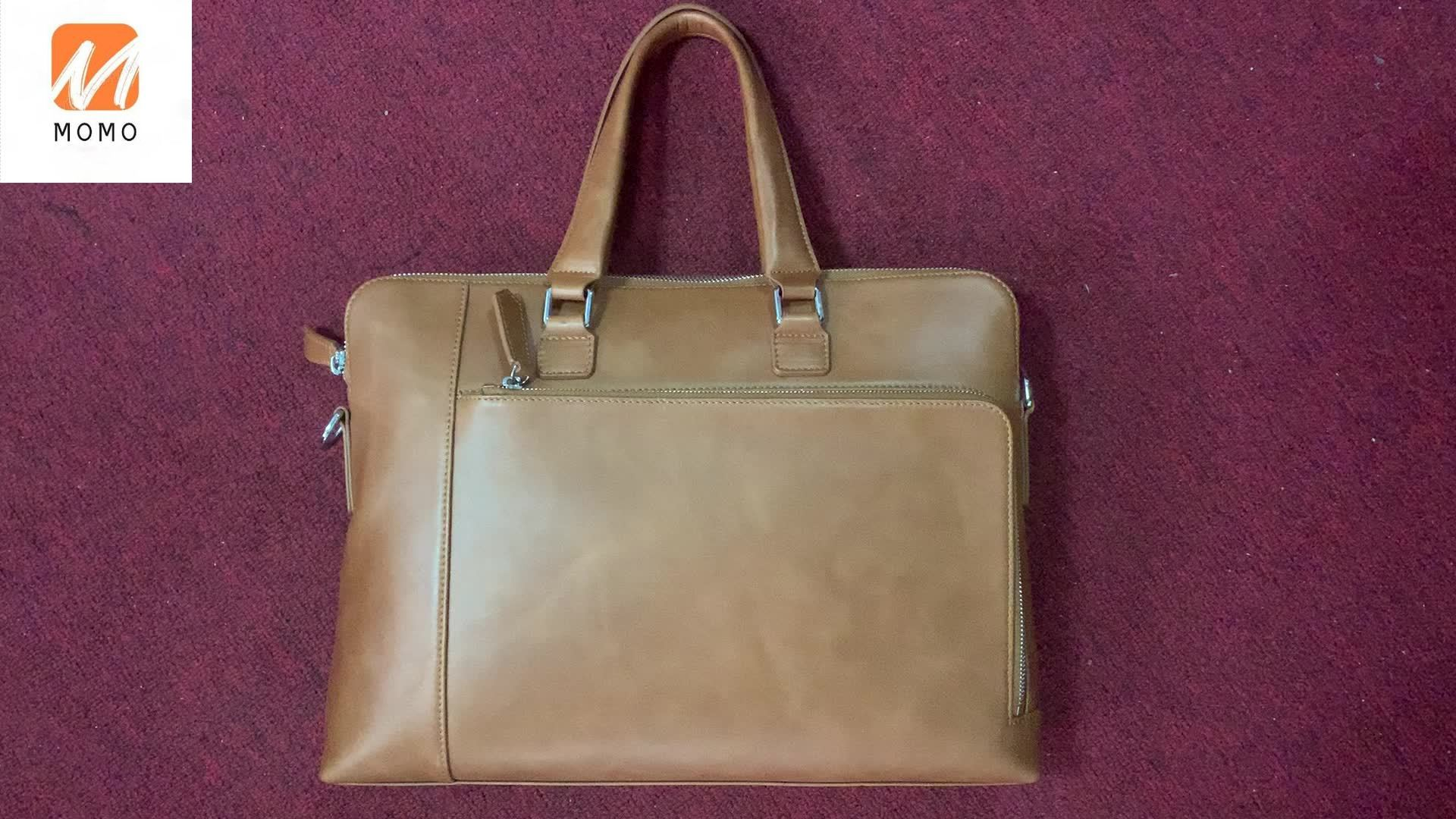 High Quality Top Layer Cowhide Leather Business Bag Men Leather Laptop Bag