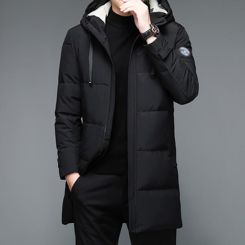 Мужская зимняя пуховая парка с капюшоном цвета хаки, черная утепленная пуховая куртка с капюшоном, стеганая нейлоновая куртка, повседневно...