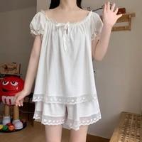 2021 summer new princess style womens pajamas suit thin lovely japanese lace nightgown homewear female sleepwear lady nightwear