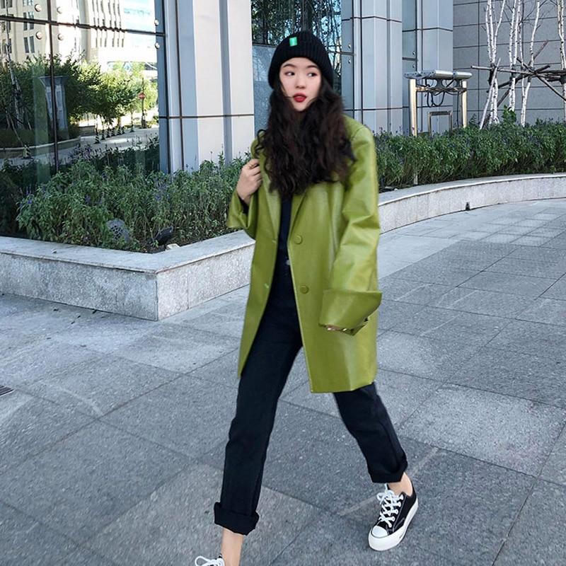 Korean Loose Fit Solid Color Pu Leather Jacket New Lapel Long Sleeve Women Coat Fashion Tide Spring 2020 leather coat PY137 enlarge