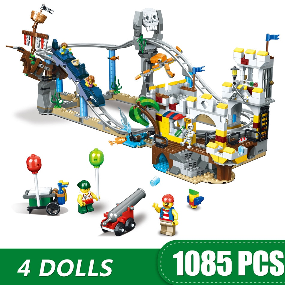 1085 pçs criadores builerds cidade parque de diversões pirata montanha russa 3 em 1 compatível lepining 31084 blocos de construção brinquedo para o miúdo