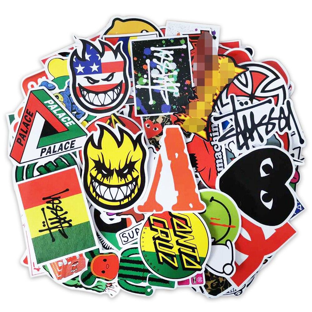 100 PCS Skateboard Fashion brand Logo Waterproof Sticker For Luggage Car Guaitar Skateboard Phone La