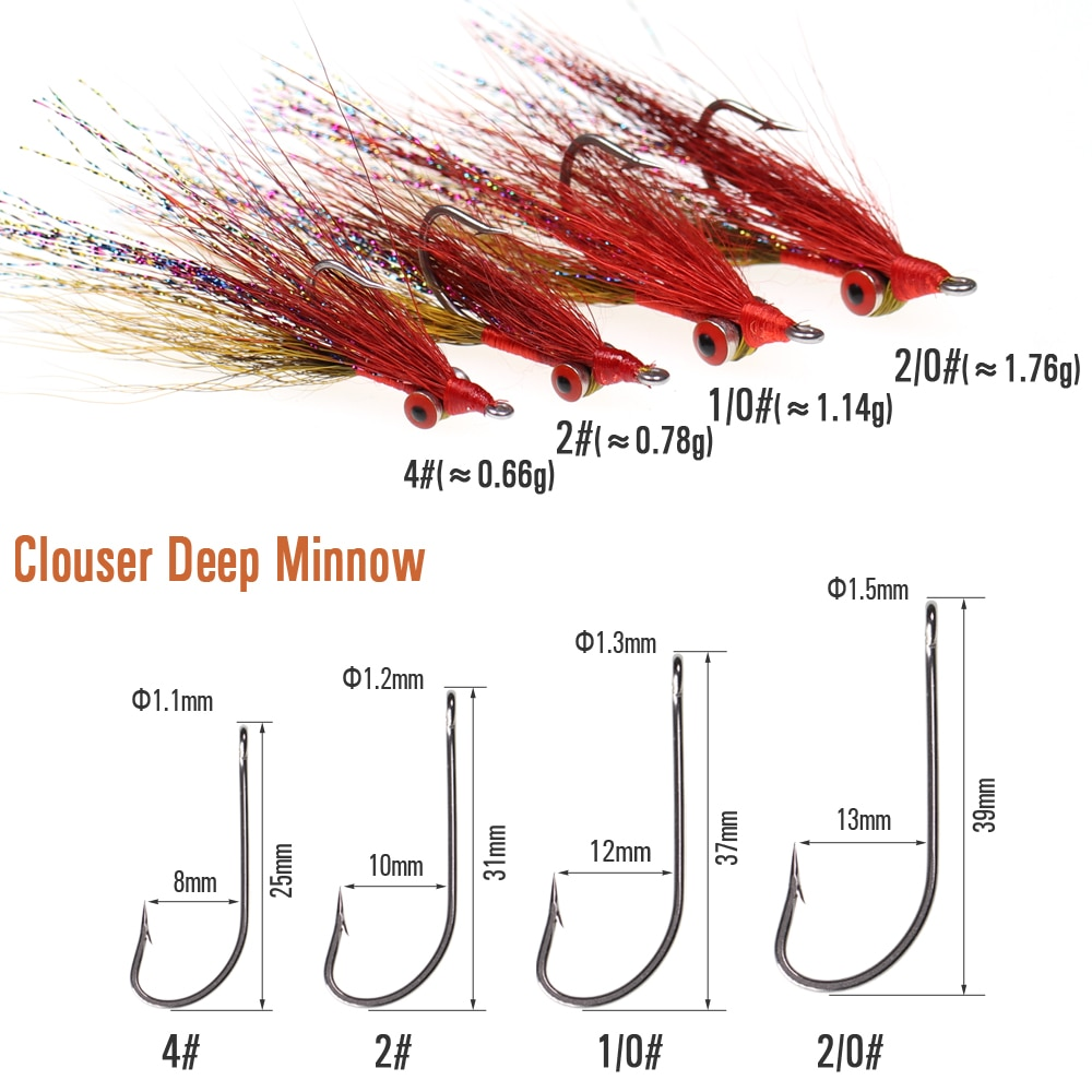 Wifreo 8PCS Clouser Minnow Fishing Flies Tied on Stainless Steel Hook for Saltwater FreshWater Fly Fishing Artificial Flies Bait enlarge
