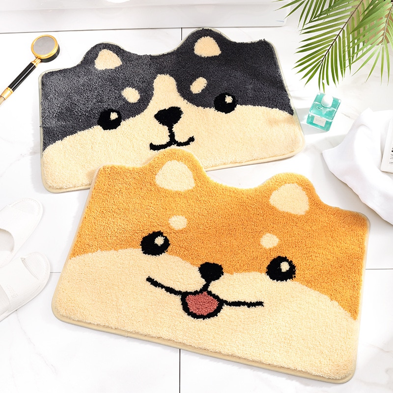Cartoon Bath Mat Cute Husky and Shiba Inu Soft Carpet Floor Mat Anti-Slip Super Absorb Water Entrance Bathroom Doormat Bath Rug