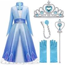 Meisjes Elsa Dress Party Vestidos 2 Cosplay Meisje Kleding Anna Snow Queen Print Verjaardag Prinses Jurk Elza Kids Kostuum