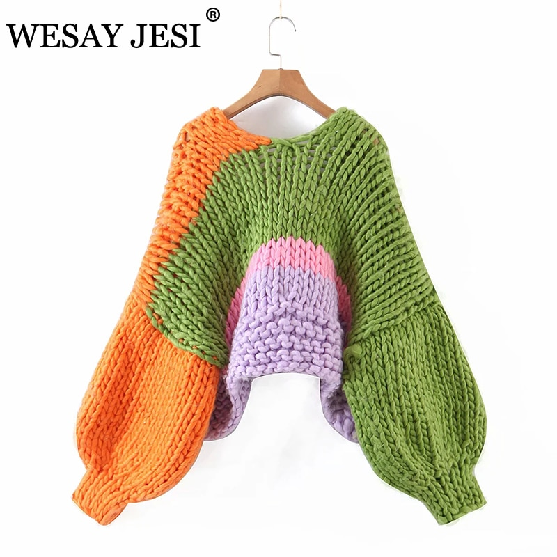 WESAY JESI Za Autumn And Winter Casual Sweater Stitching Thick Knit Long-sleeved Without Placket Cardigan Women's Short Jacket enlarge