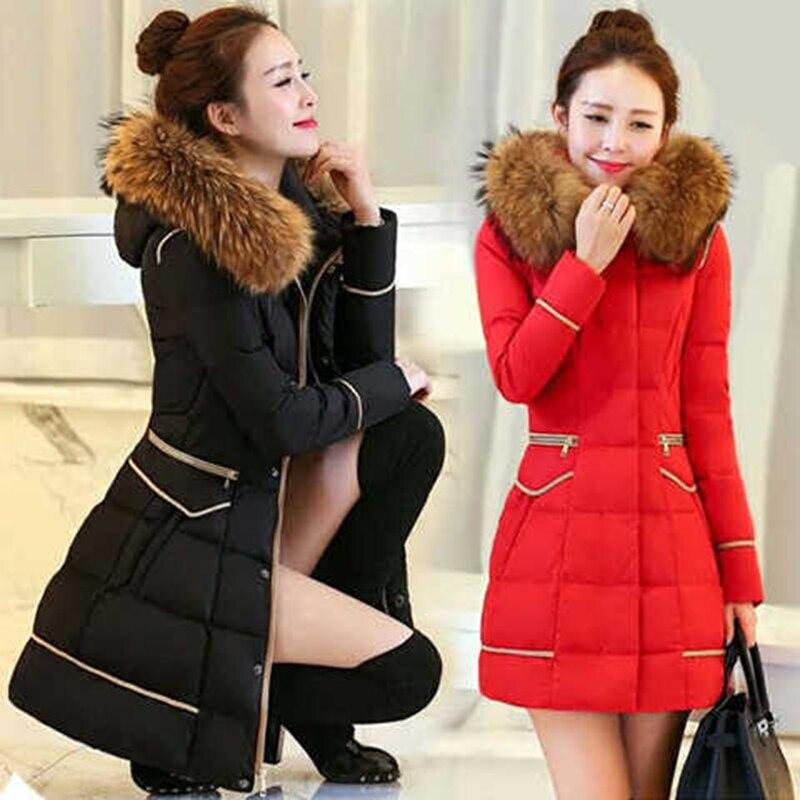 2020 Winter New Down Padded Jacket Mid-Length Women's Slim Fit And Big Fur Collar Coat Down Overwear Feminine L90