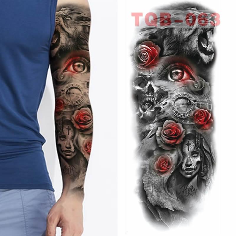 Large Arm Sleeves Lion Tiger Waterproof Temporary Tattoo Sticker Man Women  Fake Color Totem Tattoo Stickers Body Art Leg Arm