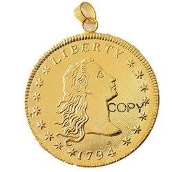 P (21) moeda pingente us 1794 fluindo cabelo colar banhado a ouro moeda moda jóias