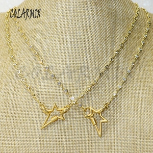 3 strands Cubic zircon chain necklace Star lock clasp Crystal necklace carabiner bolt fashion accessories for women 50437