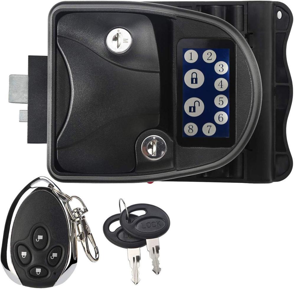 Pantalla táctil RV cerradura de puerta sin llave para el pestillo del remolque DE LA Camper con teclado y Control remoto inalámbrico Fob 20m