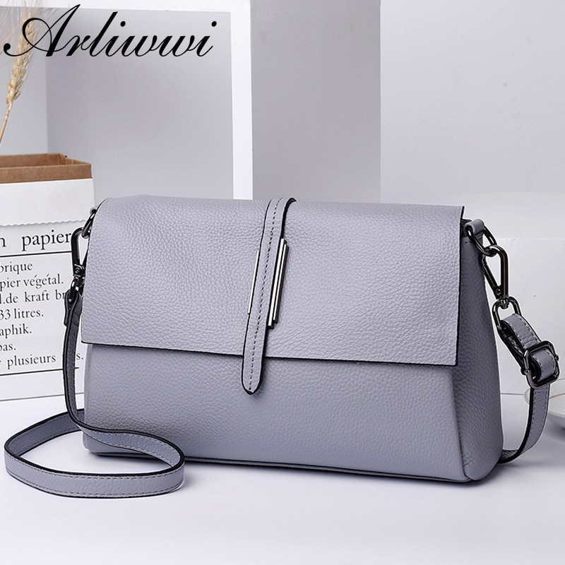 Arliwwi Designer Real Cow Leather Lady's Flap Messenger Bags Soft Genuine Cowhide Leather Functional Shoulder Handbags New