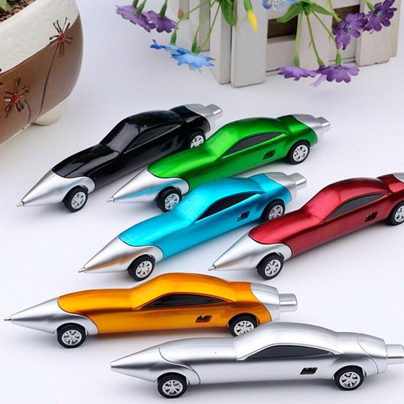 Забавная новинка, шариковые ручки с гоночным автомобилем, портативная креативная шариковая ручка, качественная для детей, детская игрушка, ...