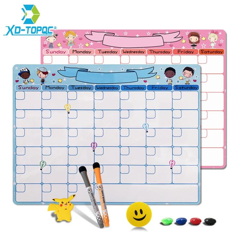 Kids Monthly Planner Whiteboard 30*40cm Study Schedule Dry Erase Calendar Fridge Magnet Flexible Cute A3 Message White Board