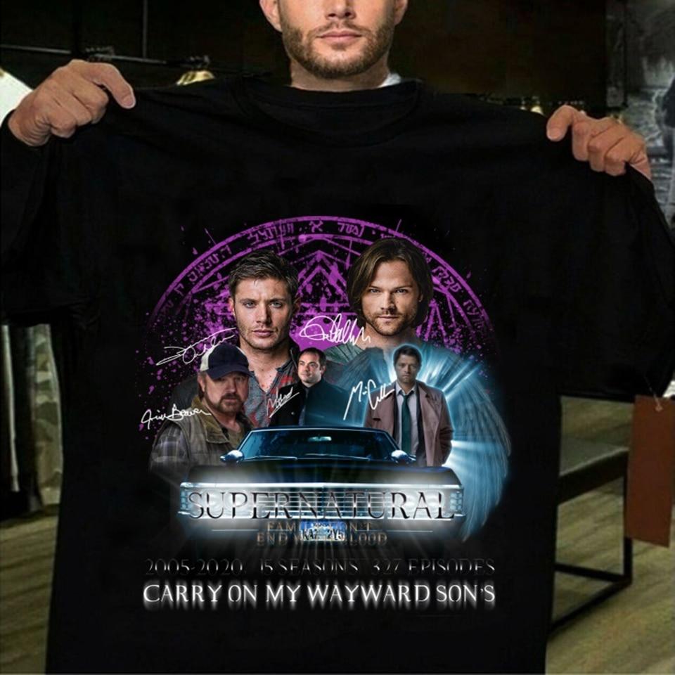 Verão 2020 supernatural temporada 15 t camisa masculina mulher harajuku continuar meu filho rebelde camiseta de algodão hip hop gráfico camiseta