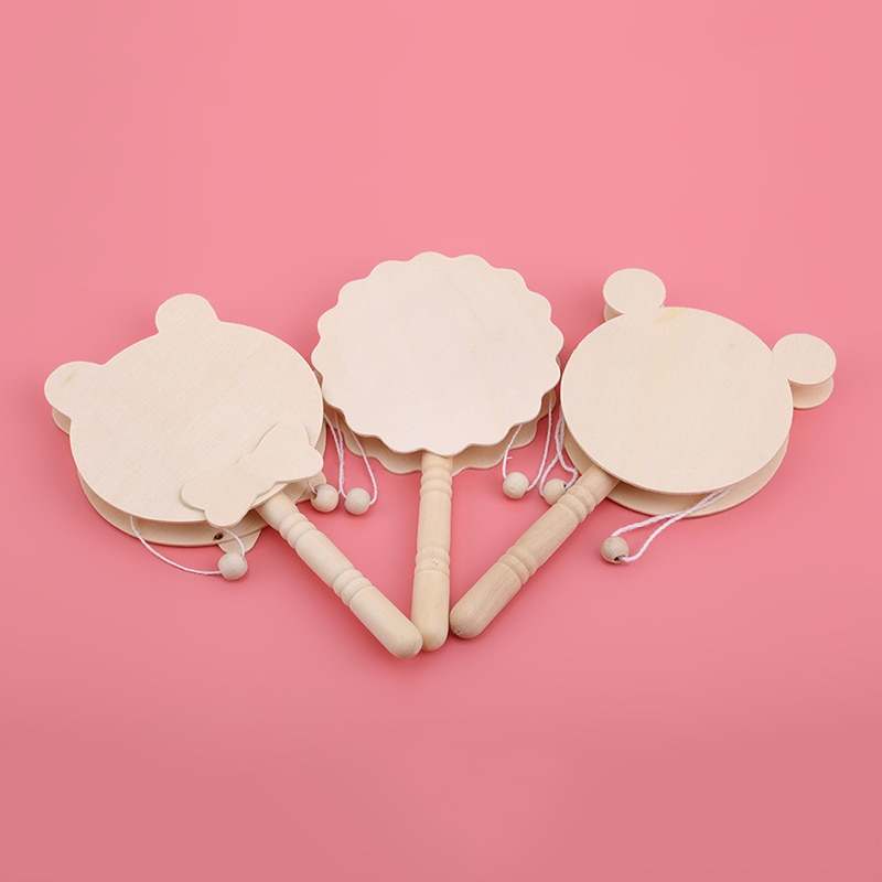 Baby Wooden Rattles Pellet Drum Toy Rocking Musical Instrument For Gift Newborn 0-12 Month