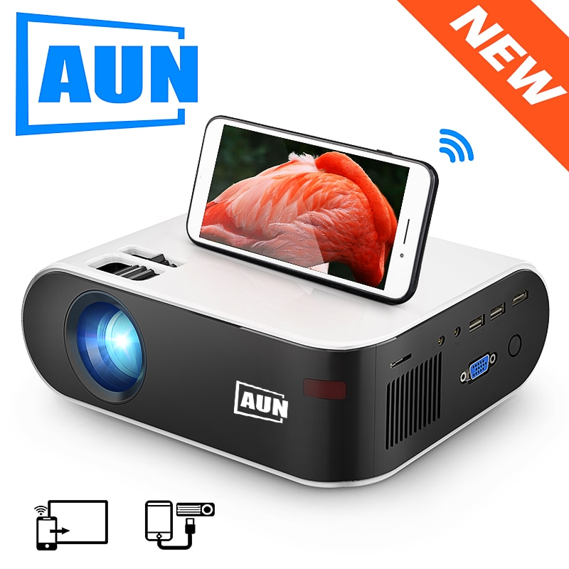 AUN MINI Projector W18 Support Full HD 1080P LED Projector 3D Home Theater Optional W18C Wireless Sync Display For Phone 2800 Lu