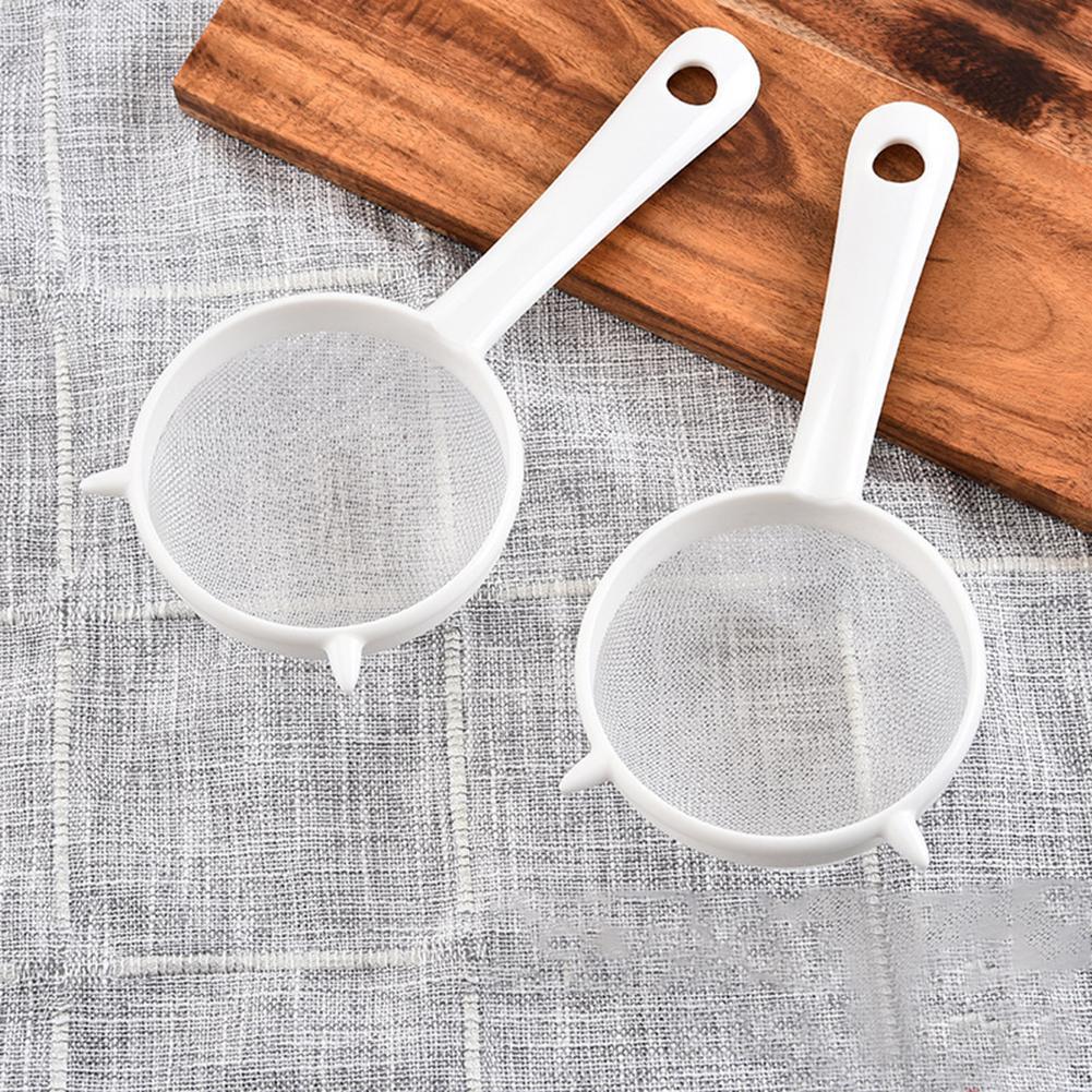 Tela de plástico para cozinha, coador de folhas para chá, escorredor de farinha, de malha para chá