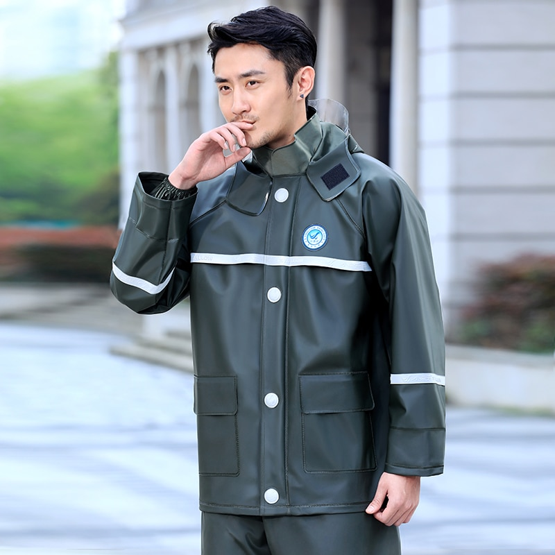 Thick Waterproof Raincoat Pants Polyester Set Overall Men Motorcycle Raincoat Hiking Outdoor Poncho Hombre Rain Tools DM50R