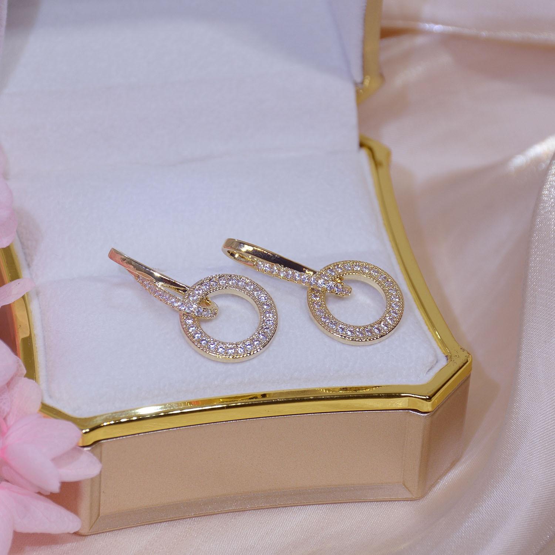 14k real ouro chapeado moda jóias de cristal redondo requintado brincos longos para a mulher festa de férias elegante brinco