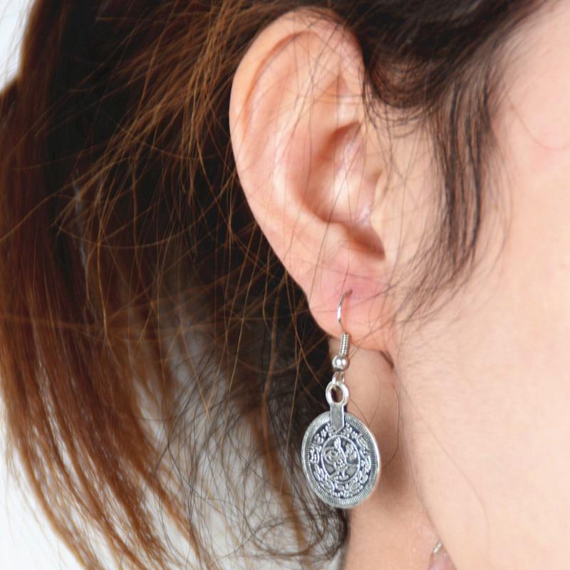 Abdoabdo moeda orelha parafuso prisioneiro brinco feminino moeda borla gota brincos antigos amantes da cor prata vintage jewelryaccesorios kolczyki