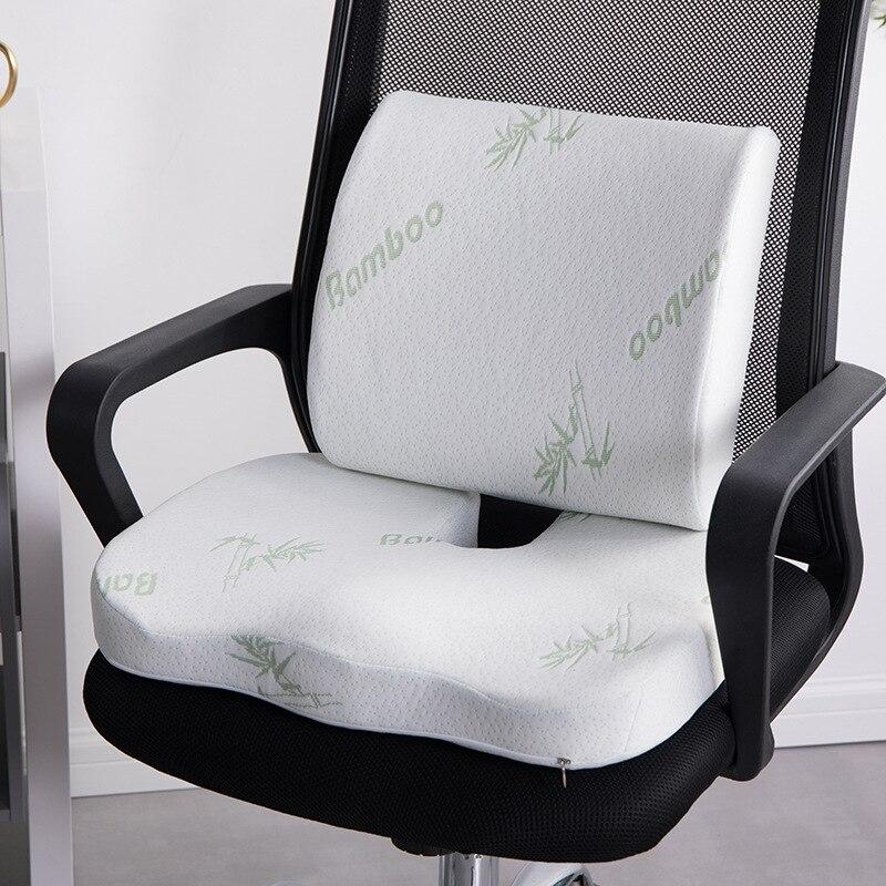 2 в 1 Подушка из бамбукового волокна с эффектом памяти, подушка на спинку сиденья с медленным восстановлением формы, комплект поддержки тали...