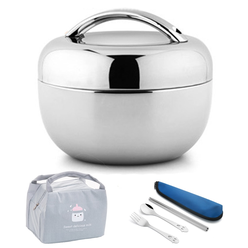 Vacuum Thick Stainless Steel Food Storage Container Thermos Portable Picnic Bento Lunch Box Office Lunchbox Adult Dinnerware Set