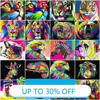 Peinture sur toile coloree avec chat  Lion  tigre  tableau dart mural pour decoration de salon  decoration de maison
