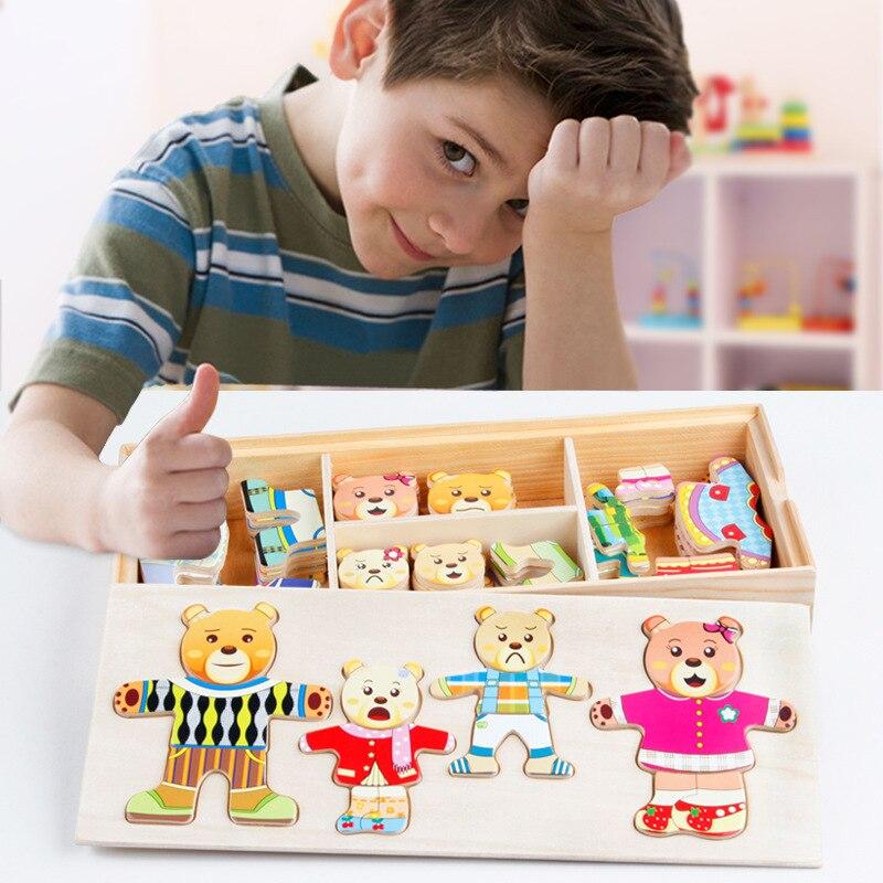 72 Uds. Cambian de ropa juguetes oso conejo ropa Cambio de rompecabezas niños niñas juguetes de madera Montessori educativo