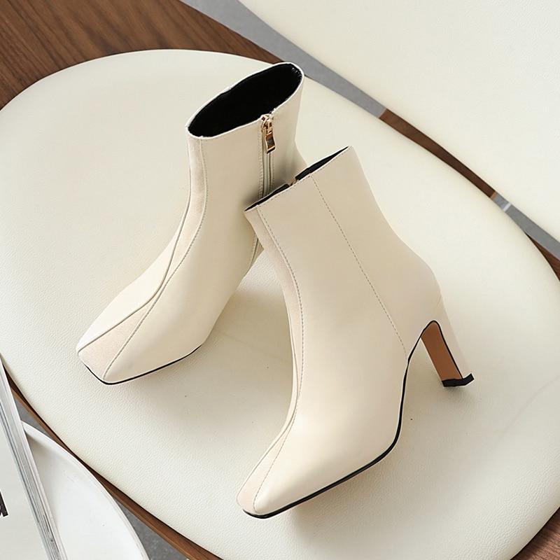حذاء نسائي فاخر بكعب عالٍ 8 سنتيمتر ، حذاء نسائي مربع من الأمام ، بيج ، بني ، باستيل ، عتيق ، مقاس كبير ، 2020