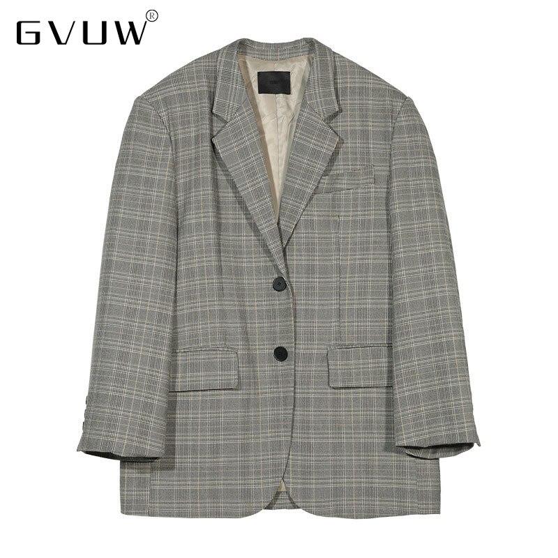 GVUW [vermo] 2021 خريف شتاء جديد نمط محايد فضفاض وتنوعا دعوى معطف المرأة واسعة الكتف قمة الموضة v10876
