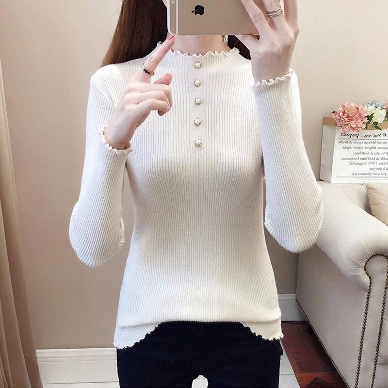 Женский свитер на весну 2021, свитер с высоким воротником, эластичный мягкий теплый женский свитер, элегантный женский свитер