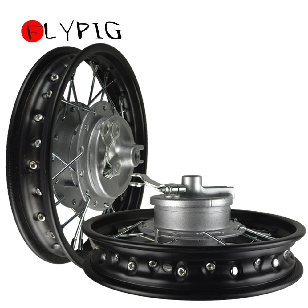 "Black Front & Rear Alum wheels rims 10"" 10 inch For CRF50 XR50 Pit Bike Stock Drum D10"