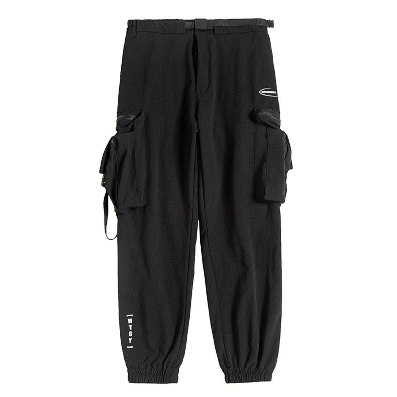 11 Bybb's Dark Letterprint Ribbons Cargo Pants Man Tactical Function Pants Streetwear Harajuku Joggers Men Trousers PocketBlack