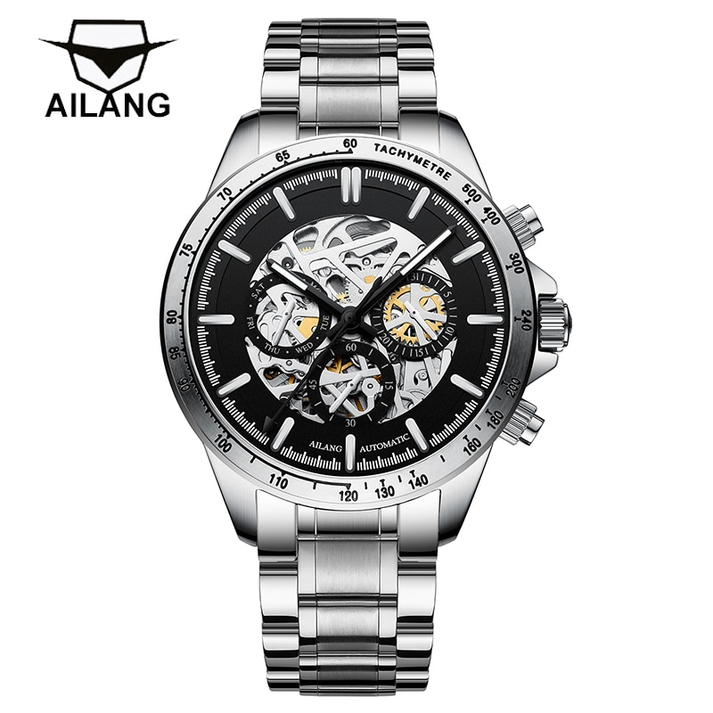 AILANG New Men's Fashion Business 30M Life Waterproof Luminous Hollow Mechanical Automatic Stainless Steel Strap Watches 206