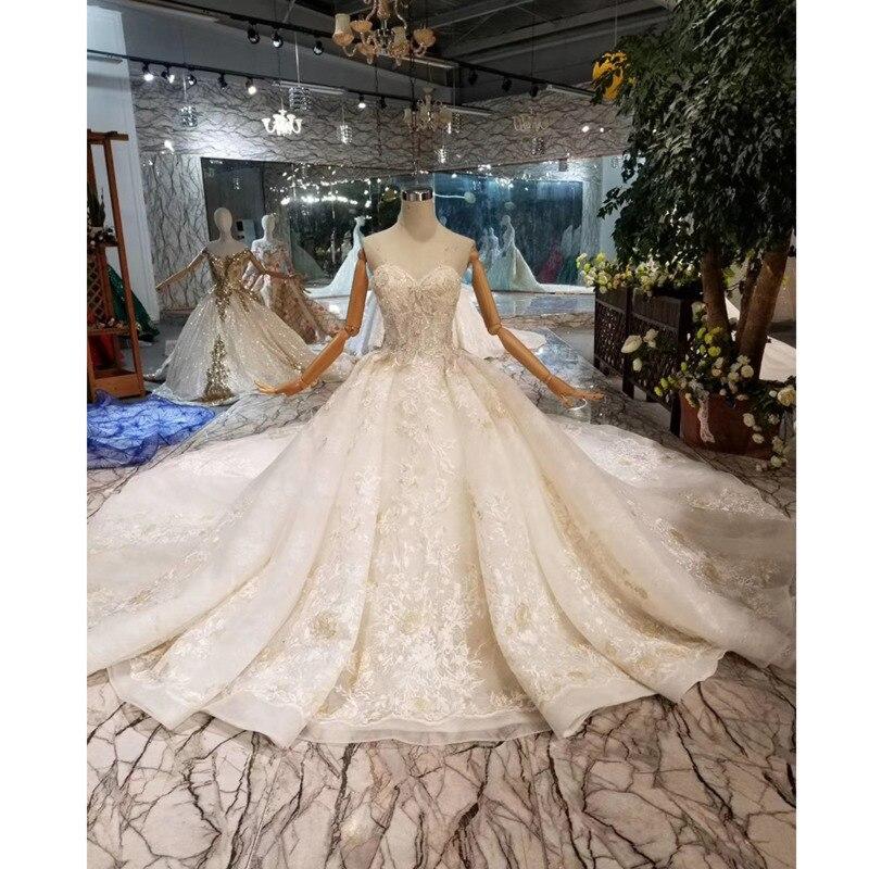 BGW HT43011 Sexy vestido de novia sin tirantes con velo de novia sin mangas apliques de lujo vestido de novia con tren largo nueva llegada