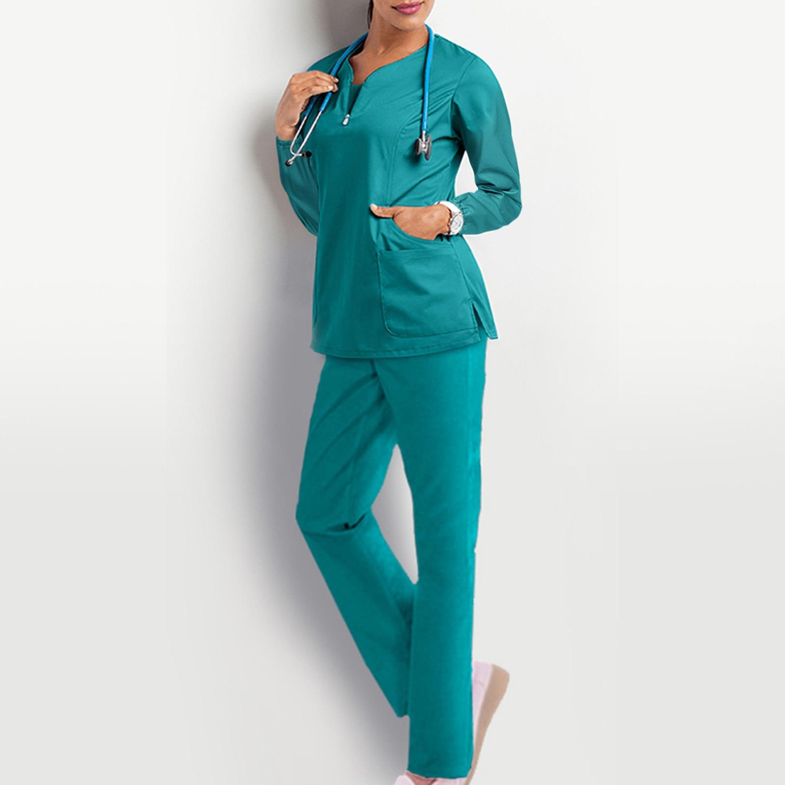 Ladies Nurse Uniform Carer Suit And Set V-neck Solid Color Long-sleeved Pocket Pant Set Uniforme Enfermera Mujer Nursing Clothes