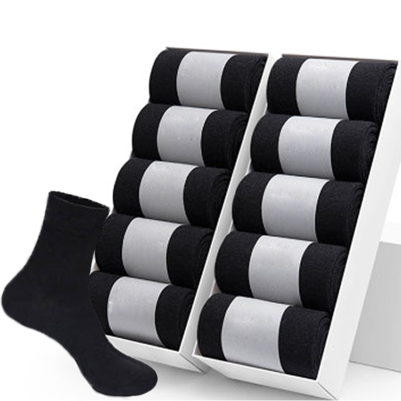 10 Pairs/Lot High Quality Men's Cotton Socks Black Business Socks Breathable 2021 New Autumn Winter Male Gift Sox PLus Size40-45