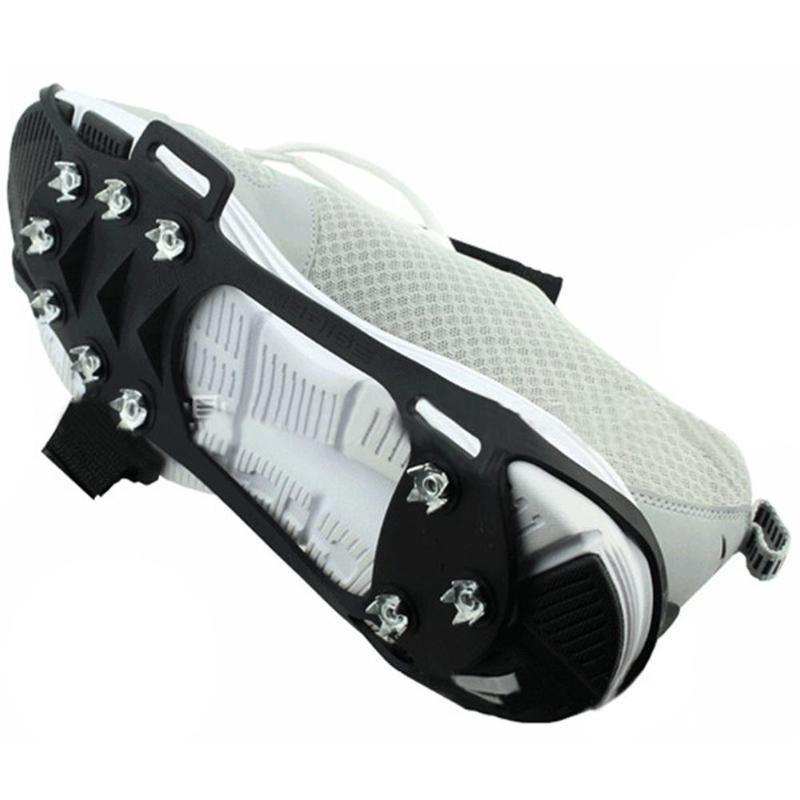 1 par de 10 dientes crampón nieve hielo superficie garras Grip Spike invierno clavo de acero antideslizante zapato cubierta antideslizante agarres para hielo tacos