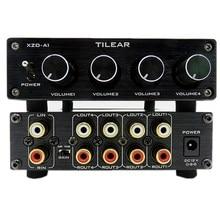 Hifi Lossless 1 Ingang 4 Output Rca Hub Audio Distributeur Signaal Keuzeschakelaar Bron Switcher Tone Volume Voor Versterker Board