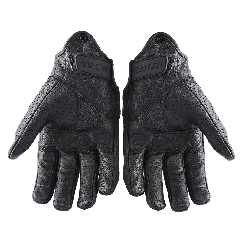 Retro Perforated Leather Motorcycle Gloves Cycling Moto Motorbike Protective Gears Motocross Glove winter man Gift women bike enlarge