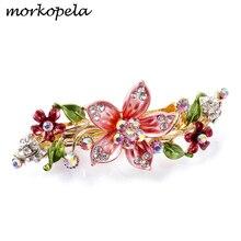 Morkopela, joyería clásica para el cabello con flores, accesorios para el cabello con diamantes de imitación para mujer, pasador de pelo esmaltado para novia, pasador de pelo, cangrejo