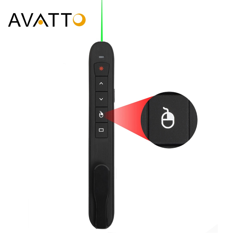 AVATTO Rechargable 2.4G Wireless laser presentation Pointer with Air Mouse, PowerPoint Presenter Rem