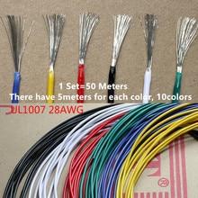 Câble en PVC Flexible 28AWG 1 lot de 50 mètres   Fil de cuivre chromé 28 # câble de isolé 10 couleurs pour le bricolage et la connexion