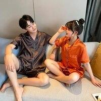 solid color sleepwear silk satin pajamas couple set short button down pyjamas suit pijama women men loungewear plus size pj set