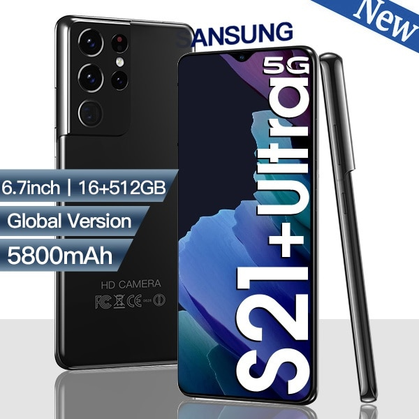 Global S21 Ultra Smartphone Android 10 512gb Smart Phones Unlocked 5g 6.7 HDinch mobile phoens 5800mAh cell phone Global version