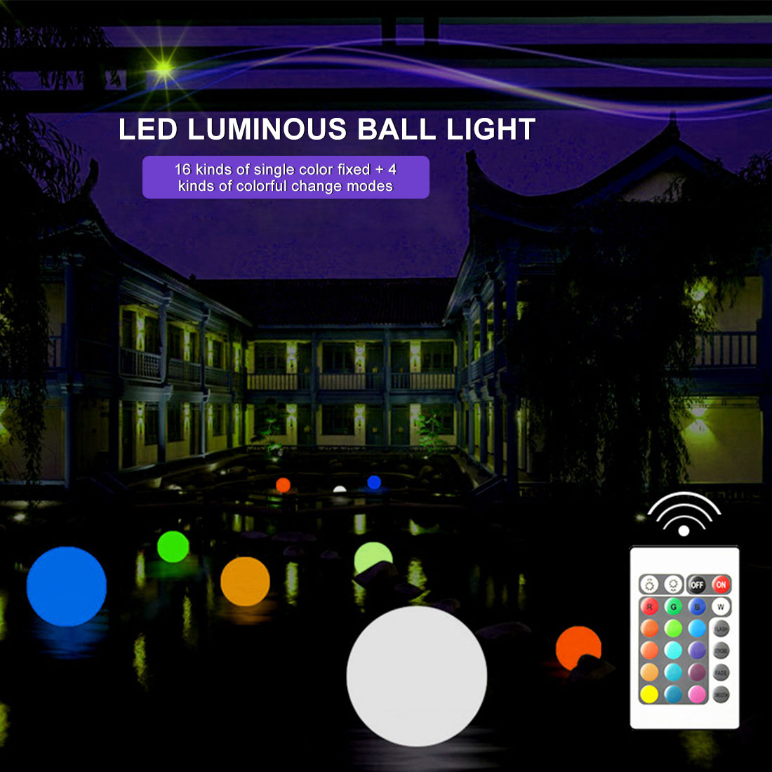 thrisdar 16 color ip68 globe ball garden landscape lawn pathway deck light remote control led swimming pool floating ball light LED Luminous Ball Outdoor Decorative Night Light Spherical Lawn Landscape Light Stage Remote Control Colorful Garden Pool Light