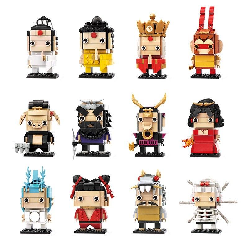 Mitología china, viaje al oeste, figura de acción, miniatura de bloques de construcción, iluminación, construcción, juguetes hechos a mano, regalos para niños